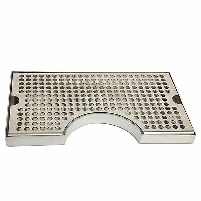 """12"""" x 7"""" Stainless Steel Cutout Beer Tower Surface Mount Drip Tray No Drain NEW!"""