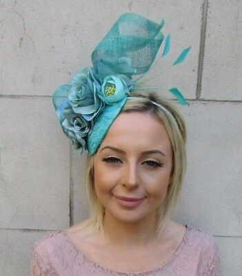 Jade Turquoise Green Rose Flower Feather Hat Hair Fascinator Wedding Races 5948