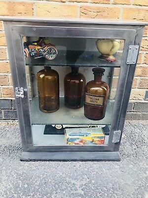 antique vintage steel and glass MEDICAL CABINET - stripped and polished