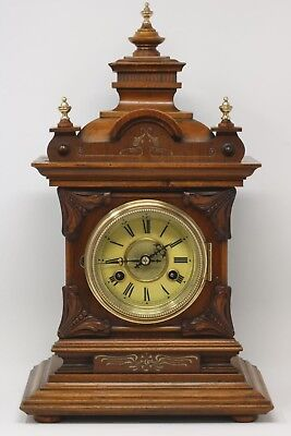 JUNGHANS German Antique Walnut Mantel/Bracket chiming clock.17.5inches.Working.