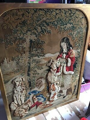 Very Large Antique Victorian Wool Work/tapestry In Frame