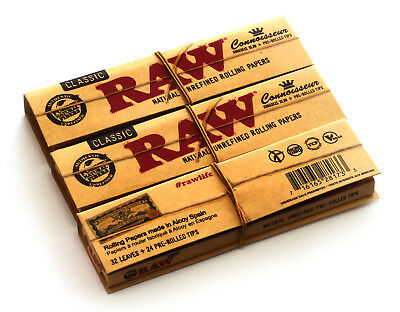 3 booklets - RAW Classic Connoisseur King Size Slim paper + Prerolled tips