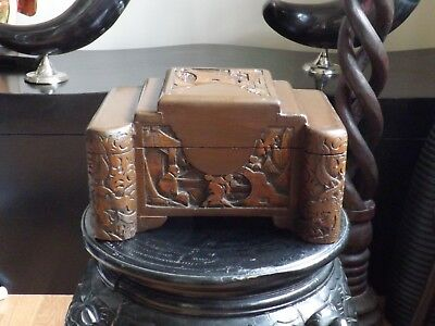 Antique 1920`s Chinese Camphor Wood Small Jewellery Trinket Box