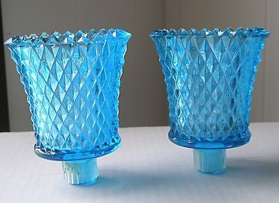 2 Home Interiors Diamond Point Turquoise Glass Peg Candle Votive Cup Holders