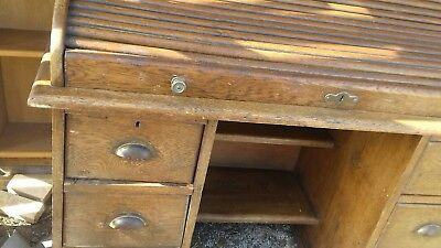Antique Edwardian Oak Roll Top Writing Desk