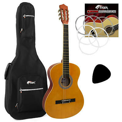 Tiger Classical Spanish Guitar 4/4 Size Package with Padded Bag