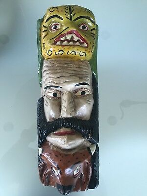 Old Mexican Folk Art Dance Festival Monster Mask wood carved hand painted 18""