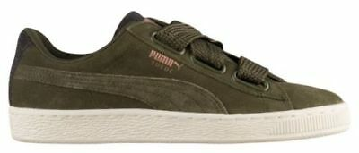 PUMA Suede Heart VR Velvet Rope Womens Size 10.5 Olive Green Rose Gold  Ribbon 6438f6c08