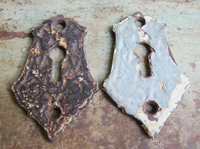Pair Antique CAST IRON Ornate Shabby Chippy Painted  Key Hole Covers Escutcheons