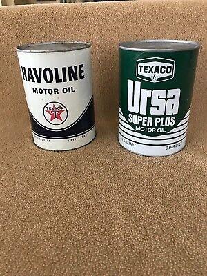 Two vintage full quart Texaco Motor Oil Cans in good condition