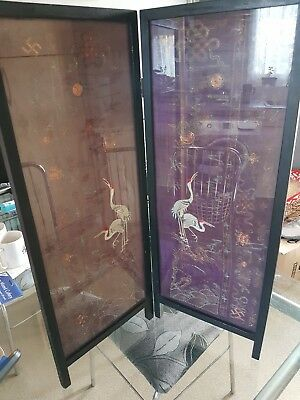 Genuine Late 19c Antique Chinese fine silk sleeved framed screen.