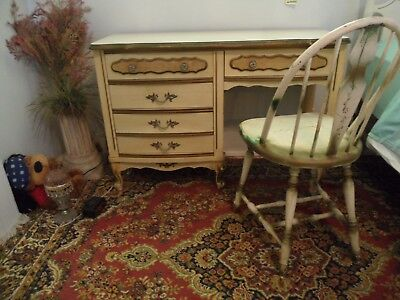 French Provincial Style Desk/Dresser Vintage Beige- olive trim + antique chair