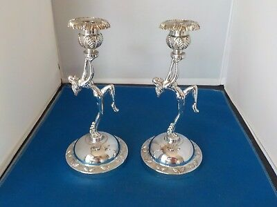 TWO CHROME PLATED ART DECO NUDE LADY CANDLESTICKS COLLECTABLE VINTAGE 40s / 50s