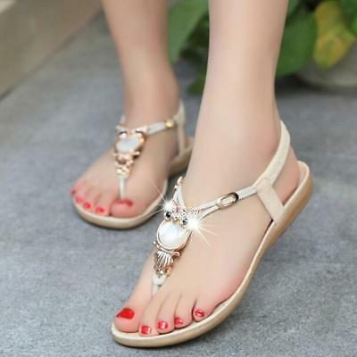 Women Flat Sandals Owl Rhinestone Ladies Slingback Holiday Casual Party Shoes 8C