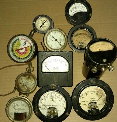 Lot Of 11 Assorted Vintage Meters And Gauges Steampunk