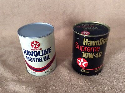 Two full quart vintage cardboard cans of Texaco oil in good condition