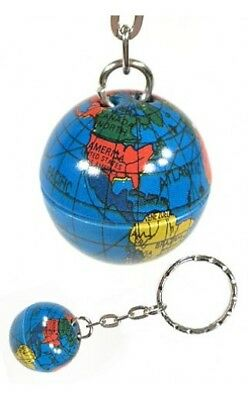Globe Metal Keychain Vintage World Map New - 2 Pieces