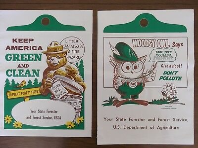 (Two) Vintage Us Forest Service Plastic Litter Bags / Woodsy Owl & Smokey Bear