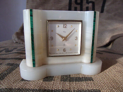 Vintage White Onyx and Malachite Mantle Clock, Original 1930s Art Deco, Swiss