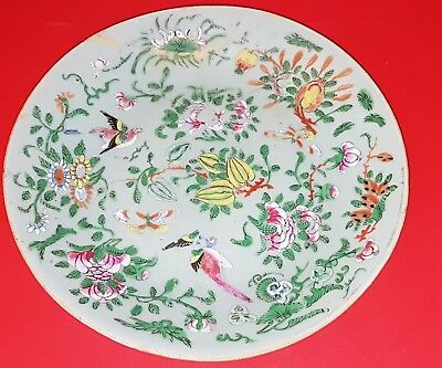 "Antique 19th Chinese Tongzhi Nian Zhi Celadon Famille Rose Plate 10""  w. Enamels"