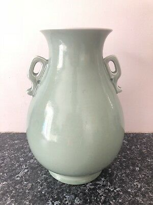 Chinese Kangxi Twin Handled Celadon Vase Markings To Base Collection Porcelain