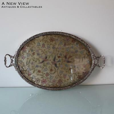 Art Nouveau Dutch silver serving tray with inlayed embroidery.