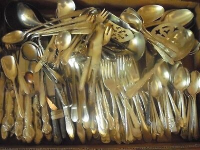 150 Pc Mixed Lot Silverplate/Antique Flatware/Serving   #196
