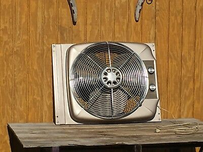 Vtg Sears Fan 2 Speed Thermostat Industrial Expandable Window Fan Steel Chrome