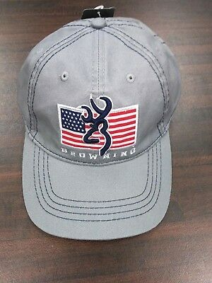 super popular d26c8 78005 Browning Pride Buck Logo w  American Flag Gray Adjustable Baseball Cap Hat  NWT