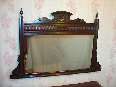 Edwardian Period Mahogany Carved Wooden Decorative Frame, Overmantle/Hall Mirror