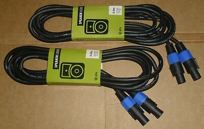 PAIR (2x) 5m SPEAKON HEAVY DUTY SPEAKER LEAD DJ DISCO PA SOUND SYSTEM