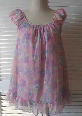 True Vintage 1960s 1970s Baby Doll Double Layer Sheer Nylon Mini Nightie Pink