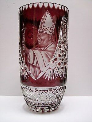 Pope John Paul Ii Etched Crystal Vase Rare Hard To Find Image Tarnow