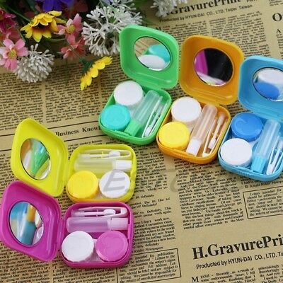 Outdoor Cute Mini Storage Contact Lens Holder Case Mirror Box Travel Container