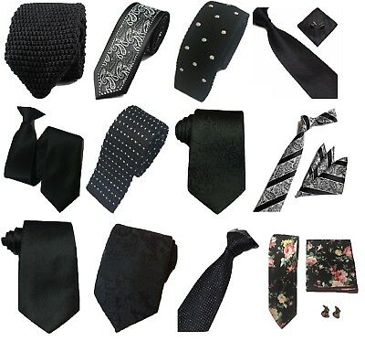 Black Collection Woven Paisley Silky Knit Satin Tie Security Funeral Wedding lot