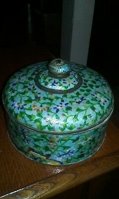 chinese asian enamel over brass round box with lid