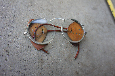 Vintage WILLSON Safety Goggles Glasses Leather Protection Motorcycle Steampunk