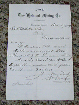 #440 - rare! 1879 BELMONT, MONTANA TERRITORY letterhead MINING CO. Ghost Town!