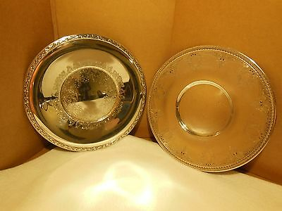 VINTAGE SILVER PLATE SERVING PLATES Wm ROGERS MEADOW BROOK & F.S.C. E.P.N.S 799