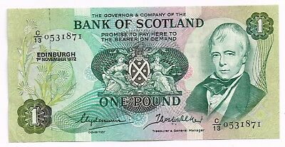 1972 BANK OF SCOTLAND ONE POUND NOTE - p111b