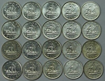 20x 1949 Canadian 80% Silver Dollar Lot Canada $1 Slider / Unc PL KM-47 Ship P3R