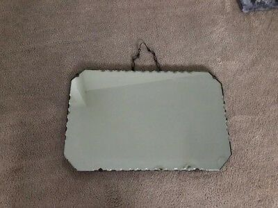 Antique Vintage Wall Mirror Scalloped Edge Chain Hanging