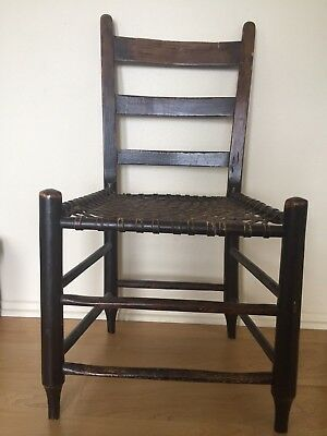Handmade Antique Ladder Back Wooden Chair with Leather Strap Seat
