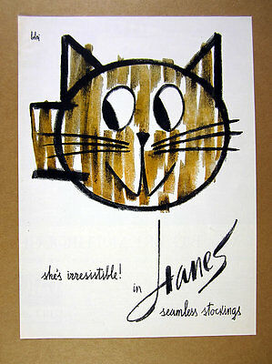 1960 Vladimir Bobri Cat art Hanes Seamless Stockings vintage print Ad
