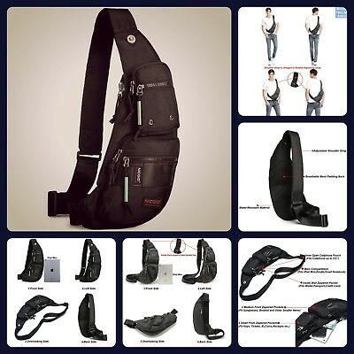 Backpack Sling Bag Chest Shoulder Fanny Pack Crossbody Black For Men Water Proof