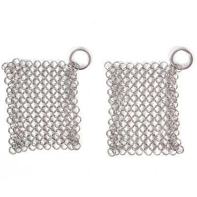 StainlessSteel Cast Iron Cleaner Chainmail Scrubber Home Cookware Kitchen ToolH&