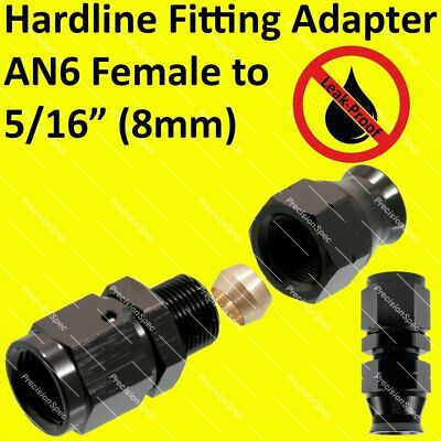 AN6-5//16 6AN Fuel Adapter Fitting To 3//8//5//16 Alloy Aluminum for GM,Quick Connect Male LS EFI,Black
