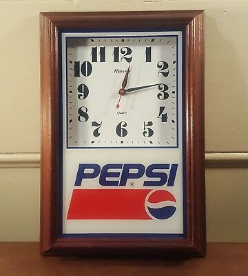 Vintage Pepsi Hanover Quartz Wooden Frame Battery Operated Clock