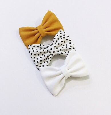 3x Girl Hair Bow / Baby Toddler Hair Clip / Mustard Cotton Fabric Bow