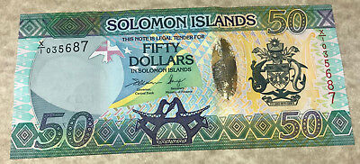 Solomon Islands 2013 $50 Dollars Replacement Polymer Banknote-Green Sea Turtles